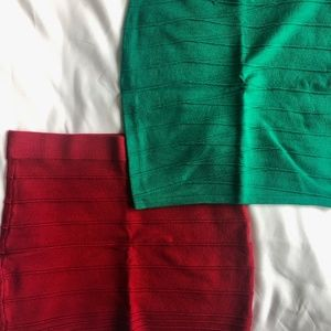 Red & Green Stretchy Skirts